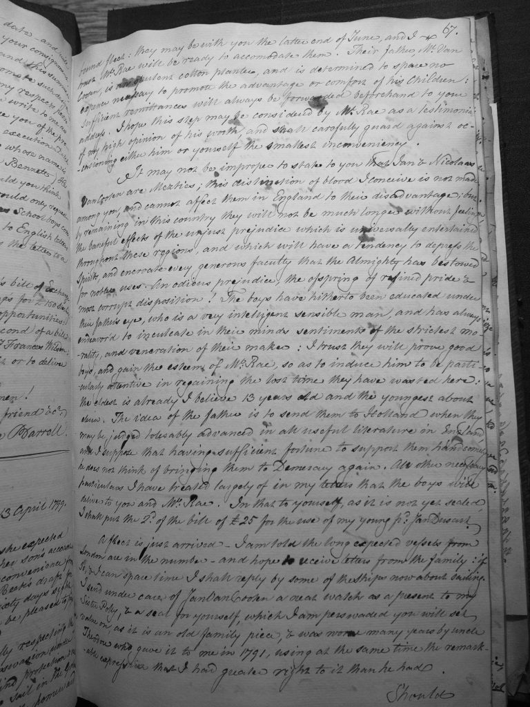 Theodore Barrell letter book page 67